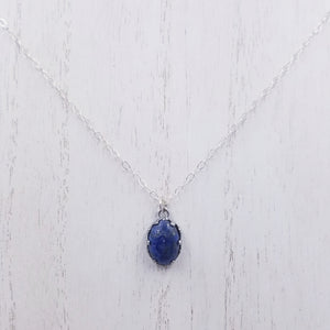 Sterling Silver Lapis Lazuli Pendant with Sterling Silver Chain