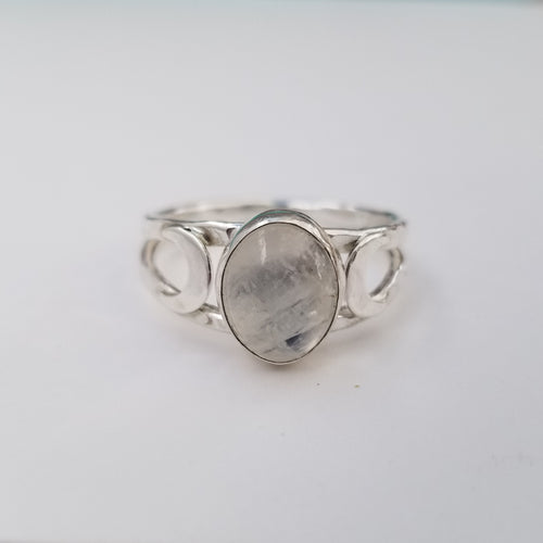 Moonstone Double Crescent Ring
