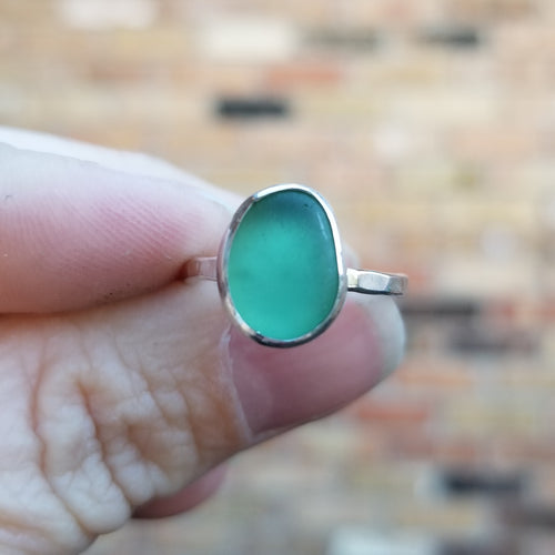 Talulah Sea Glass Ring, Seafoam, Size 6