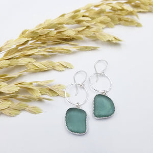 Sea Glass Bezeled Earrings