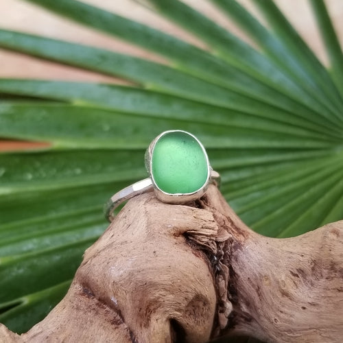Capri Sea Glass Ring  No.15   Size 5.5