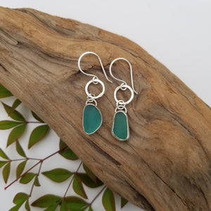 Sea glass small hoops