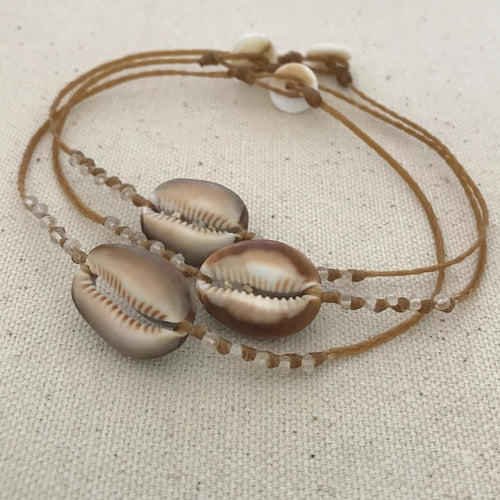Sandkissed Surfer Anklet - Hawaiian Cowrie Shell & Moonstone