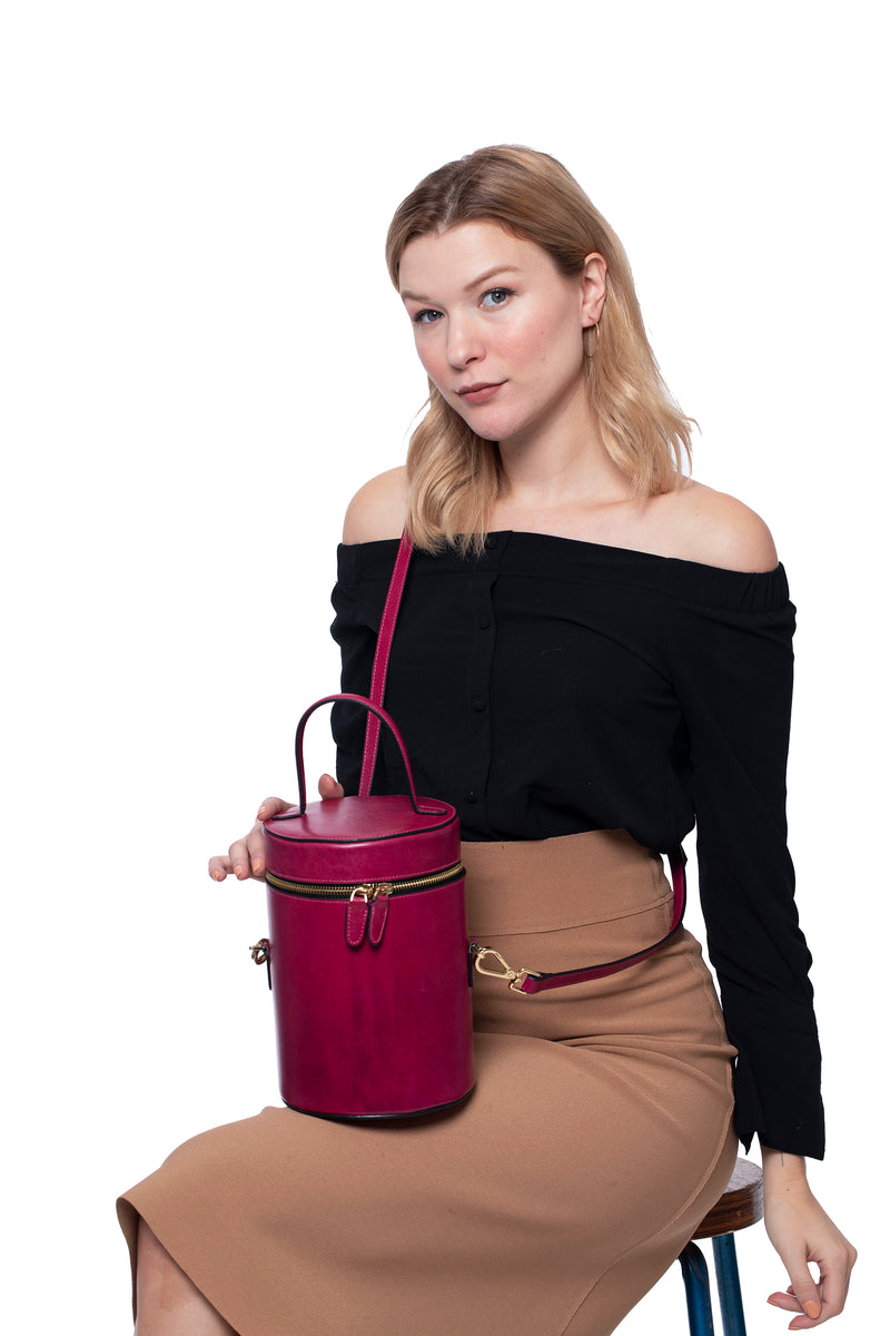 Cylindrical Bucket Bag in Sangria