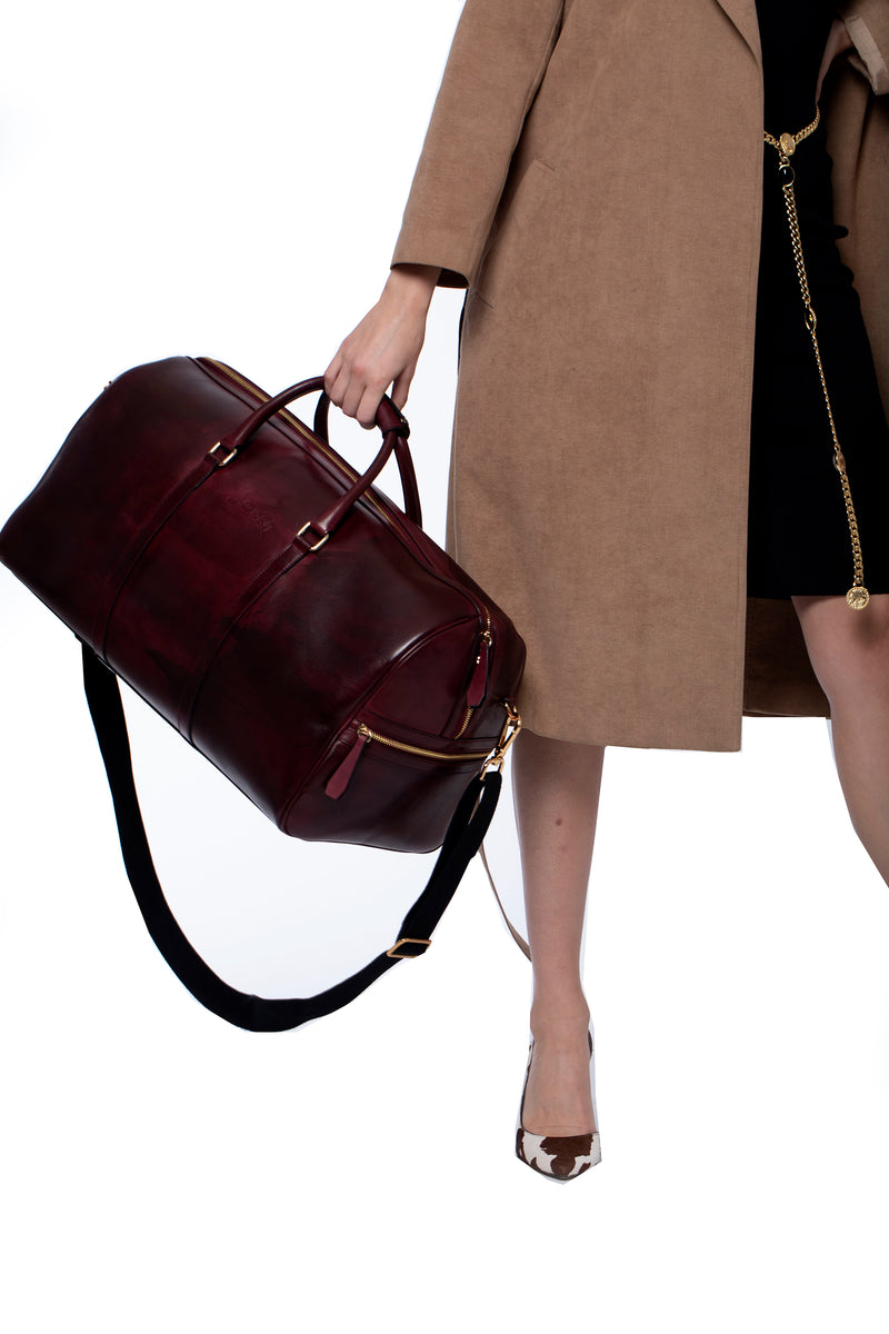 Carryall Duffle Bag in Oxblood - Silver & Riley