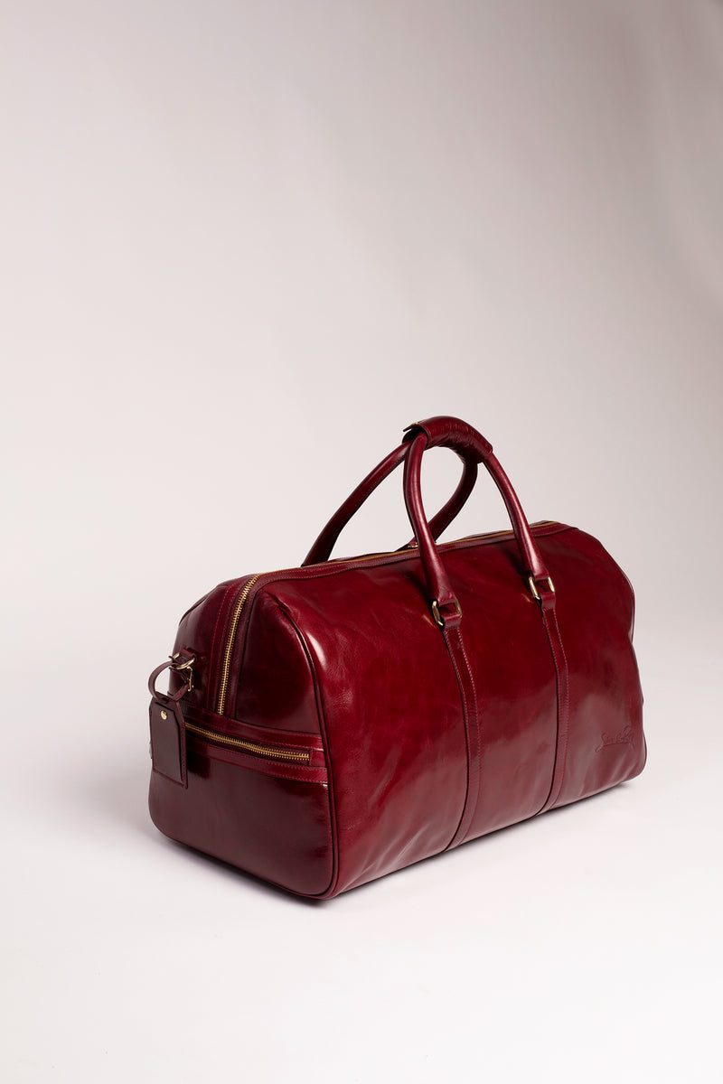 Carryall Duffle Bag in Polished Burgundy - Silver & Riley