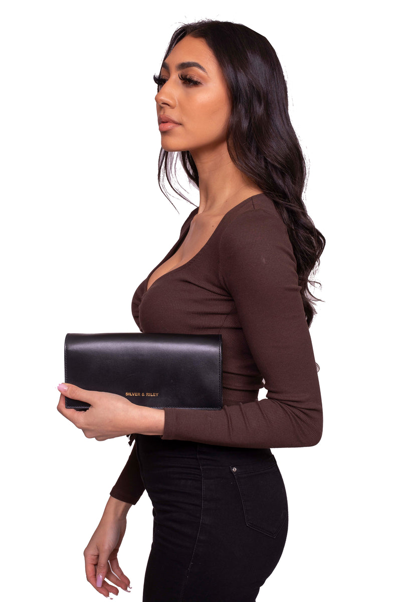 Durban Convertible Crossbody and Clutch Leather Bag in Black