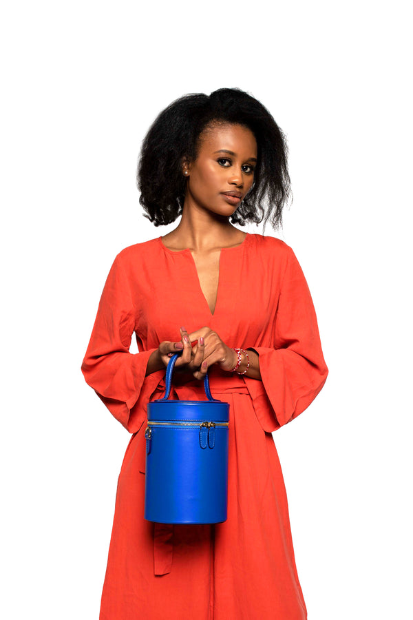 Cylinder Bucket Bag in Regal Royal Blue