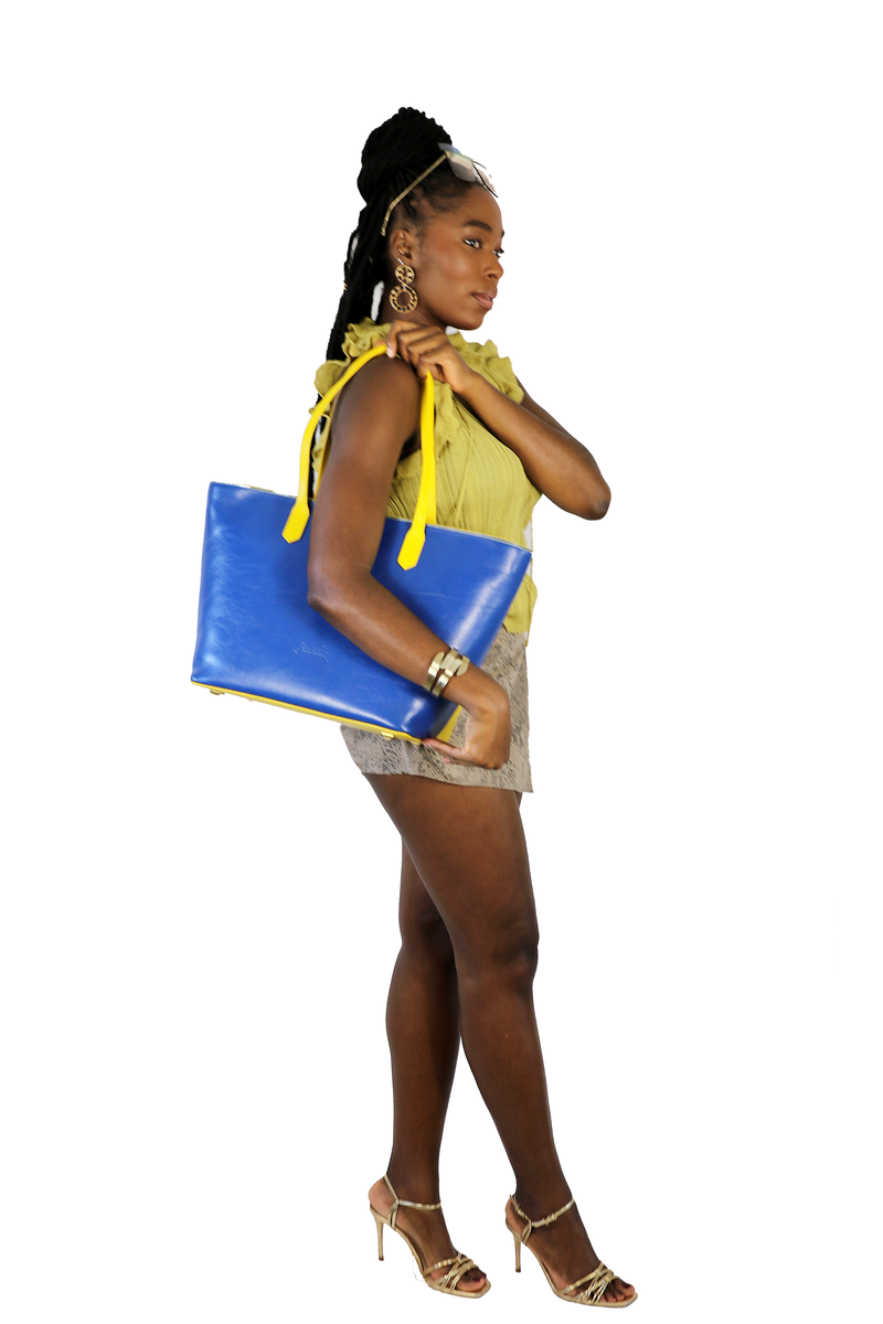 Manila All Purpose Bi-Colored Tote Bag in Yellow and Blue