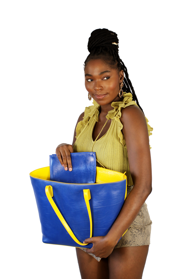 Manila All Purpose Carryall Bi-Colored Tote Bag in Yellow and Blue