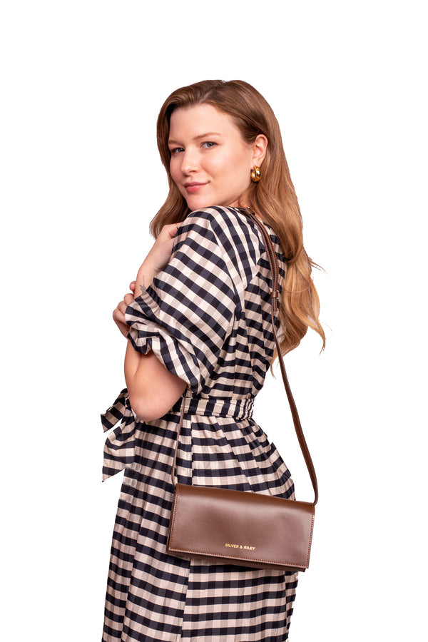 Durban Convertible Crossbody and Clutch Leather Bag in Brown