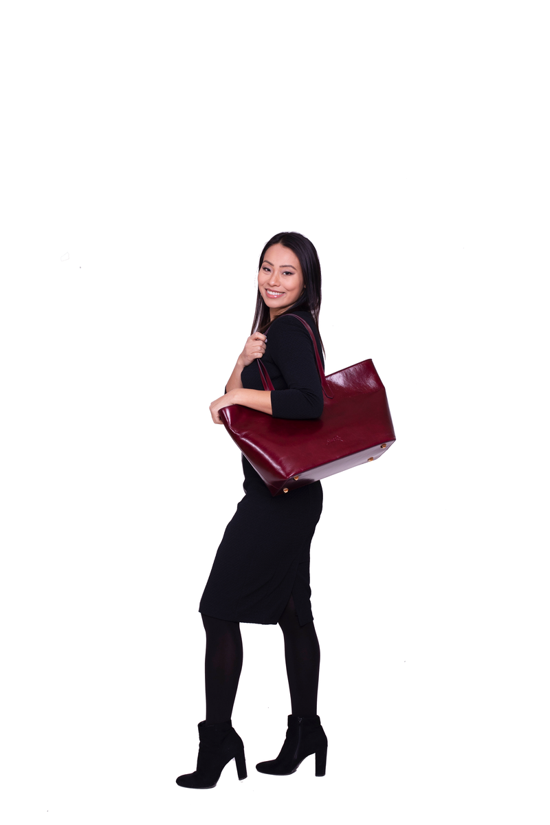 Manila All Purpose Tote Bag in Polished Burgundy - Silver & Riley