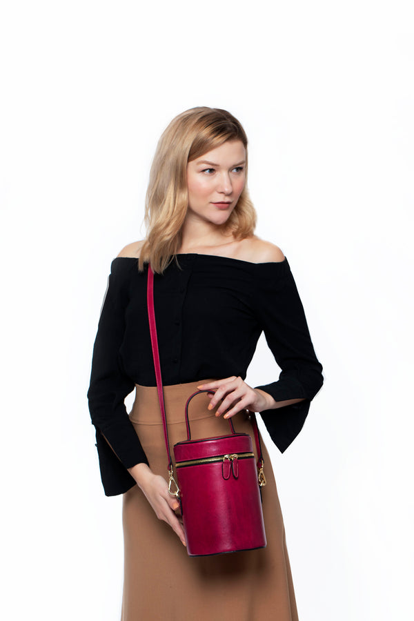 Cylindrical Bucket Bag in Sangria - Silver & Riley