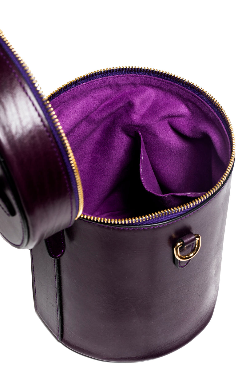 Cylinder Bucket Bag in Eggplant - Silver & Riley