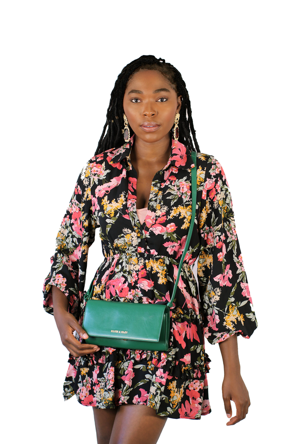 Durban Convertible Crossbody and Clutch Leather Bag in Emerald Green