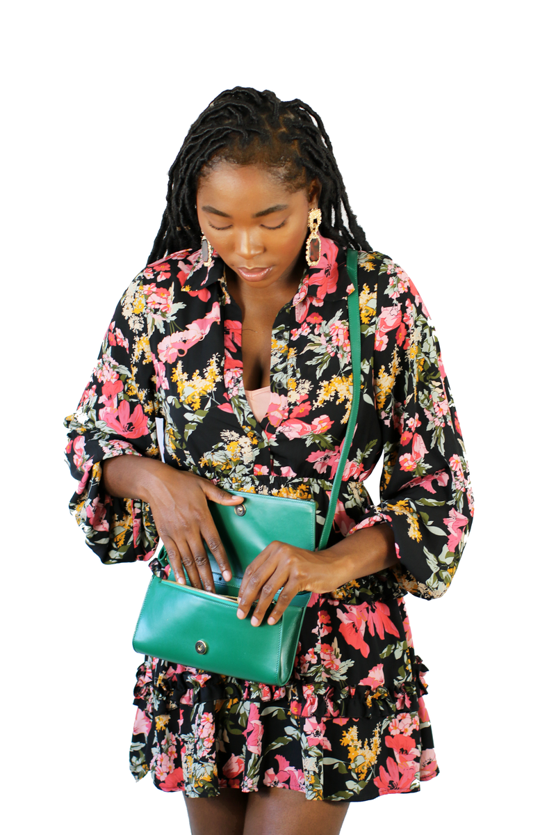 Durban Convertible Crossbody and Clutch Bag in Emerald Green