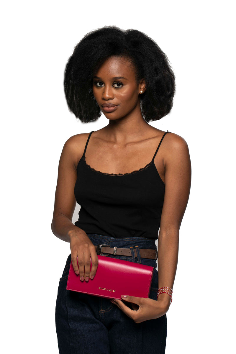 Durban Convertible Crossbody and Clutch Bag in Fuchsia