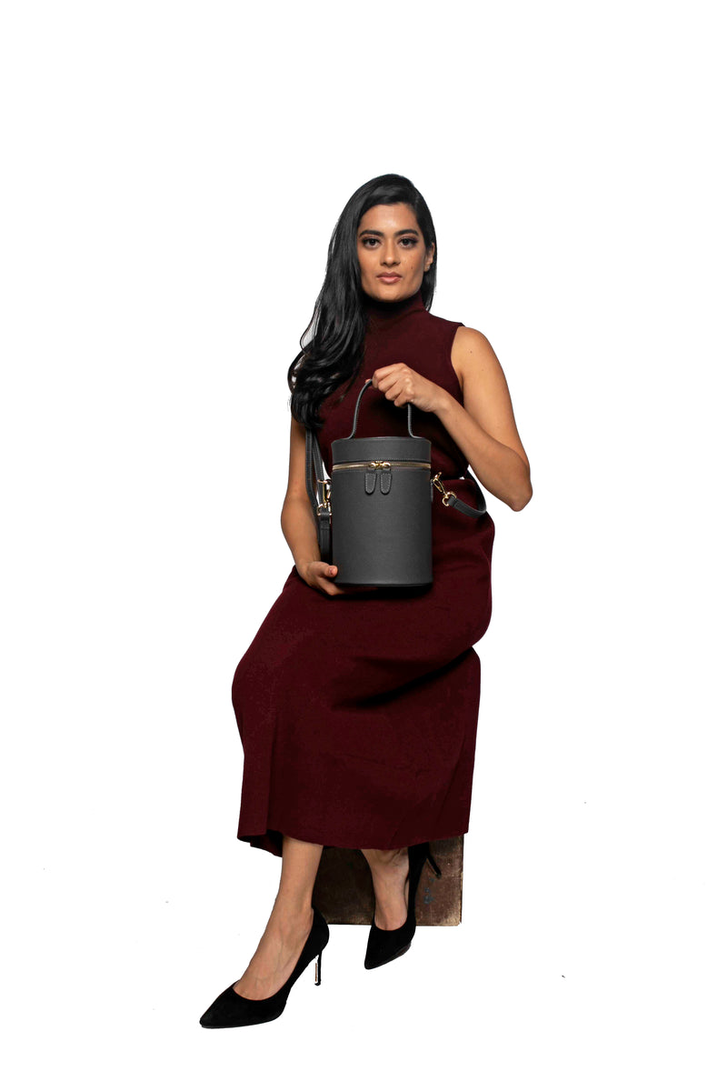 Cylinder Bucket Bag in Pebbled Grey