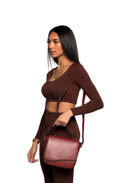 Milan Crossbody Leather Bag in Maroon