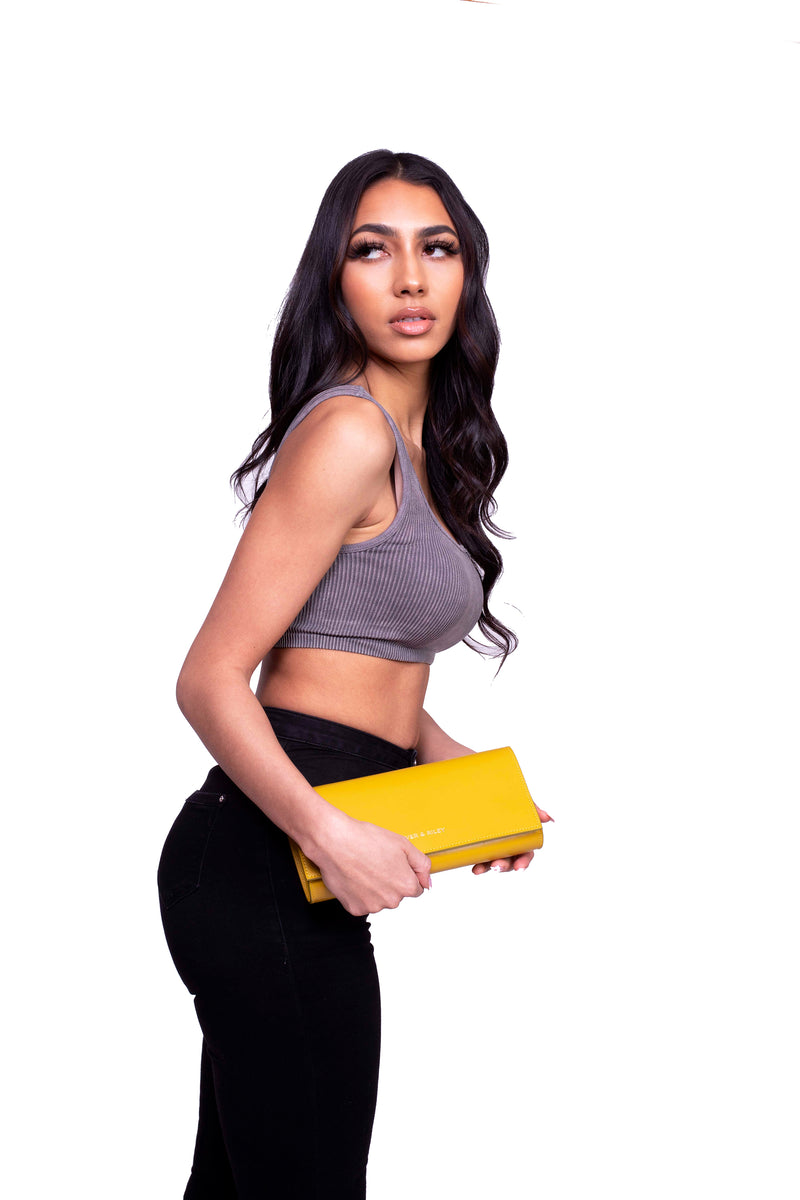 Durban Convertible Crossbody and Clutch Leather Bag in Custard Yellow