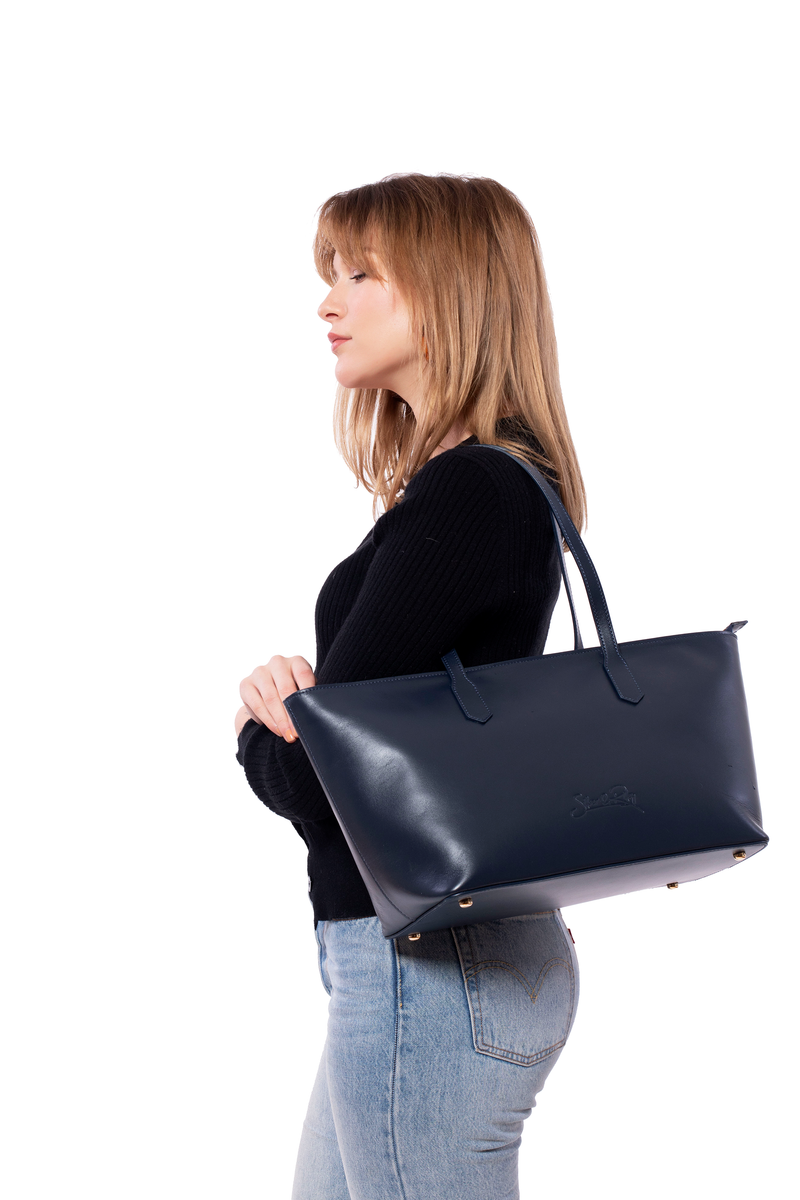 SoHo Mini Tote Bag in Navy - Silver & Riley