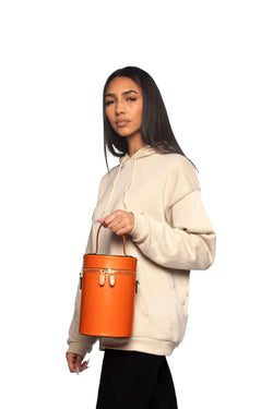 Cylinder Bucket Bag in Mandarin