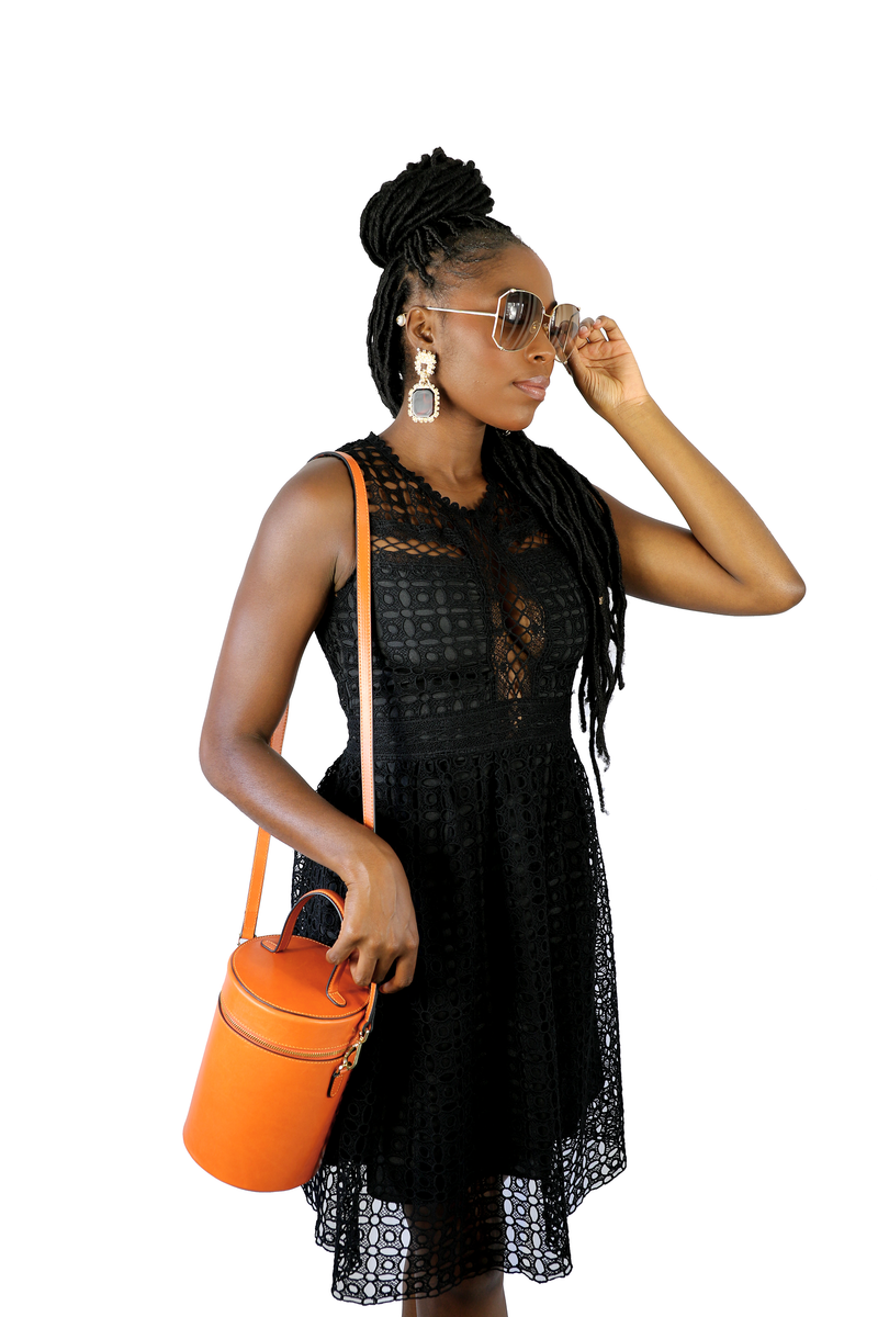 Cylinder Bucket Leather Bag in Mandarin Orange