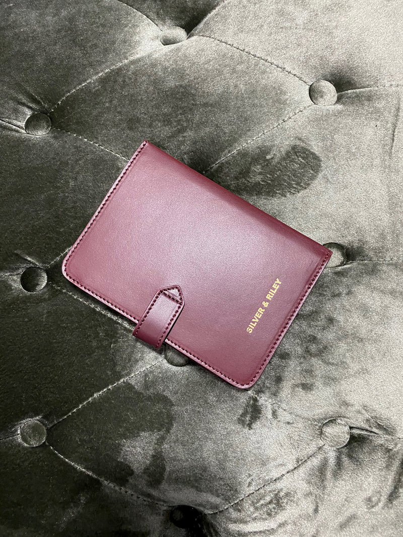 Sydney Passport Holder in Bordeaux - Silver & Riley