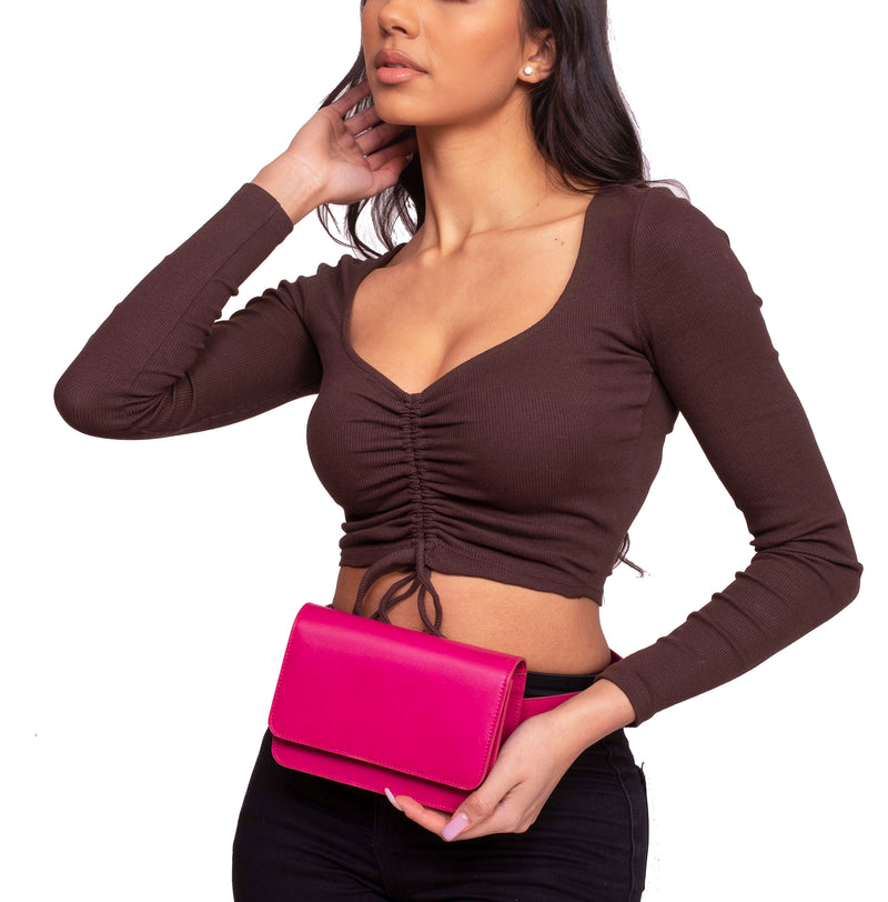 Going Places Leather Belt Bag in Fuchsia Pink