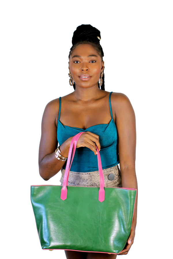 Manila All Purpose Bi-Colored Tote Bag in Pink and Forest Green