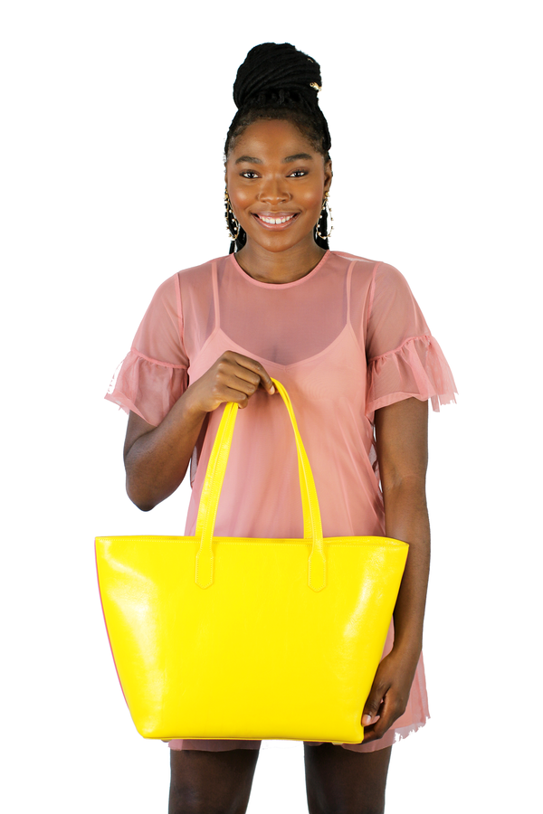 Manila All Purpose Bi-Colored Tote Bag in Pink and Yellow