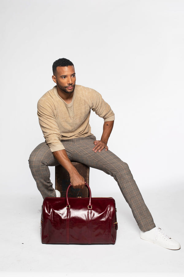 Carryall Duffle Bag in Polished Burgundy