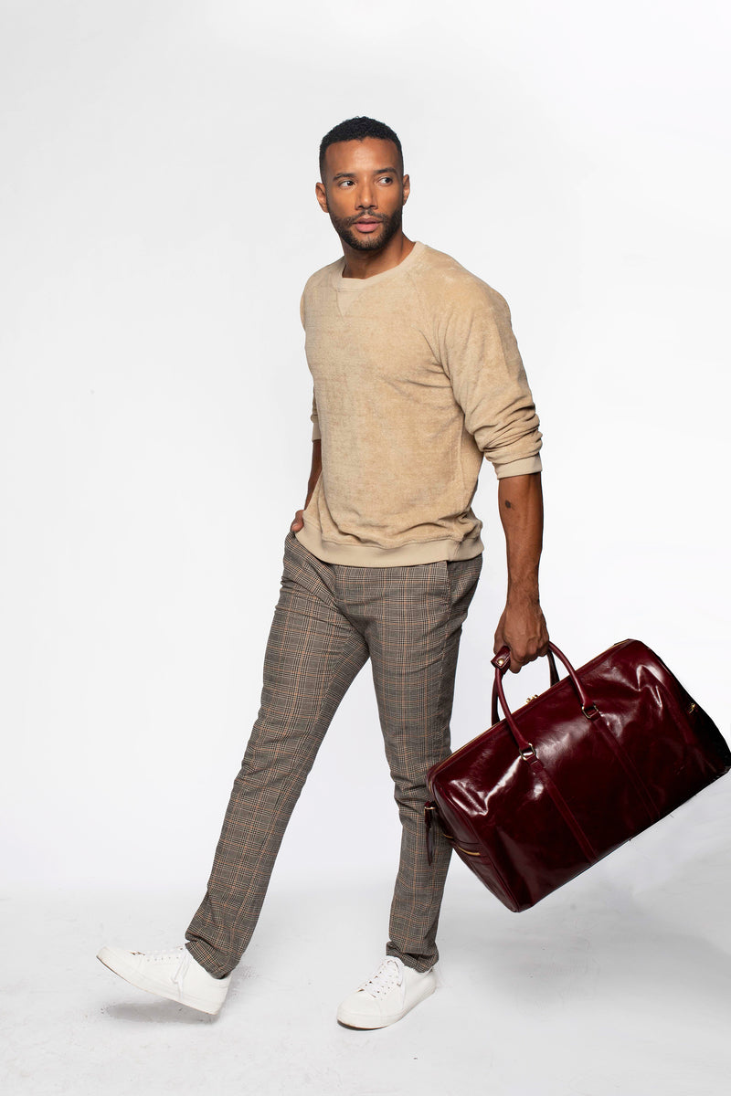 Carryall Duffle Leather Bag in Polished Burgundy