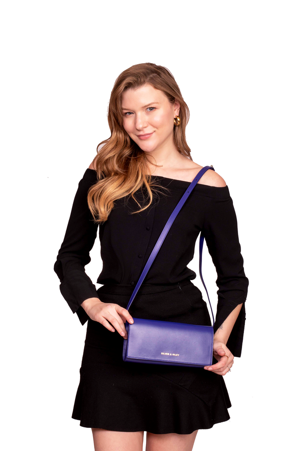 Durban Convertible Crossbody and Clutch Leather Bag in Violet Blue