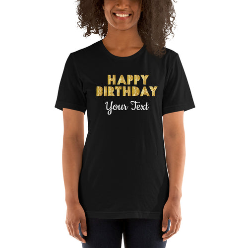 Happy Birthday Short-Sleeve Unisex T-Shirt with back text option +Colors - Efizy Tees