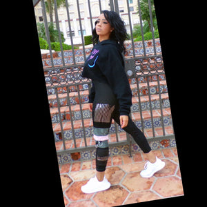 Sweat Drip | Trendy Leggings with Mixed Patterns down one Leg