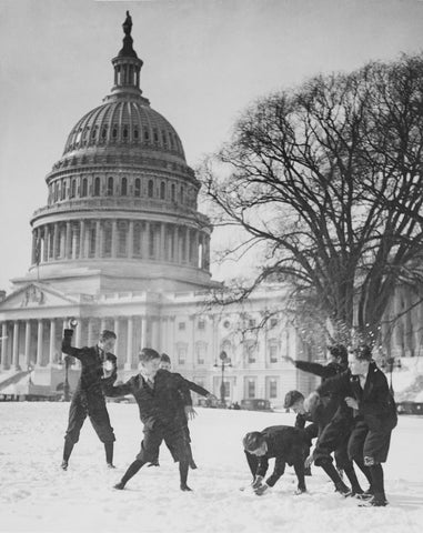 Senate Page Boys Stage, Snow Battle on the Capitol Plaza