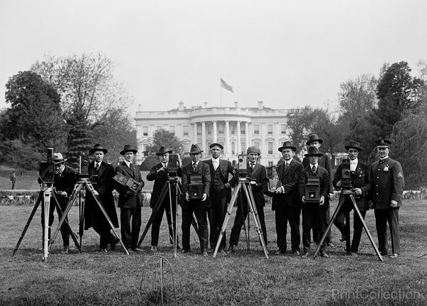 Press Correspondents and Photographers on White House Lawn