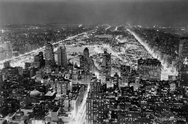 Aerial View of New York City, at Night