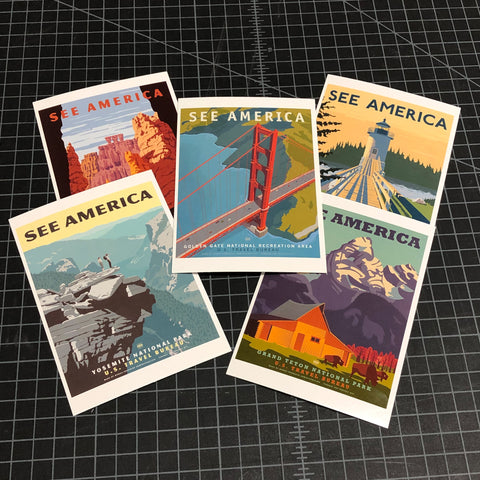 See America Post Card Set of 5 Cards
