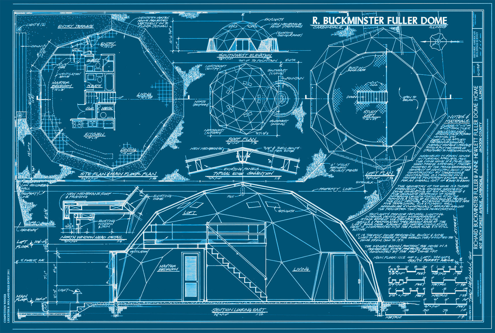 Print Collection - Buckminster Fuller Dome Drawings