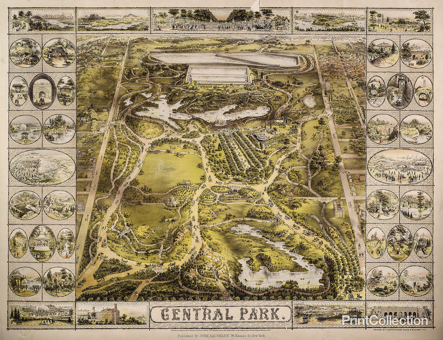 Print Collection - Aerial Map View of Central Park 1863 on