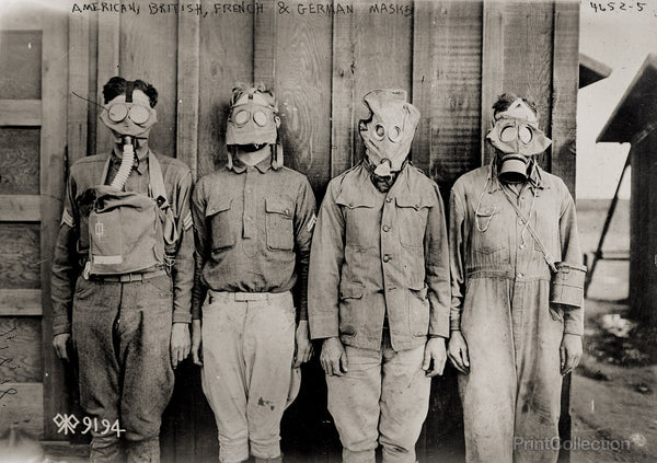 American, British, French & German Gas Masks