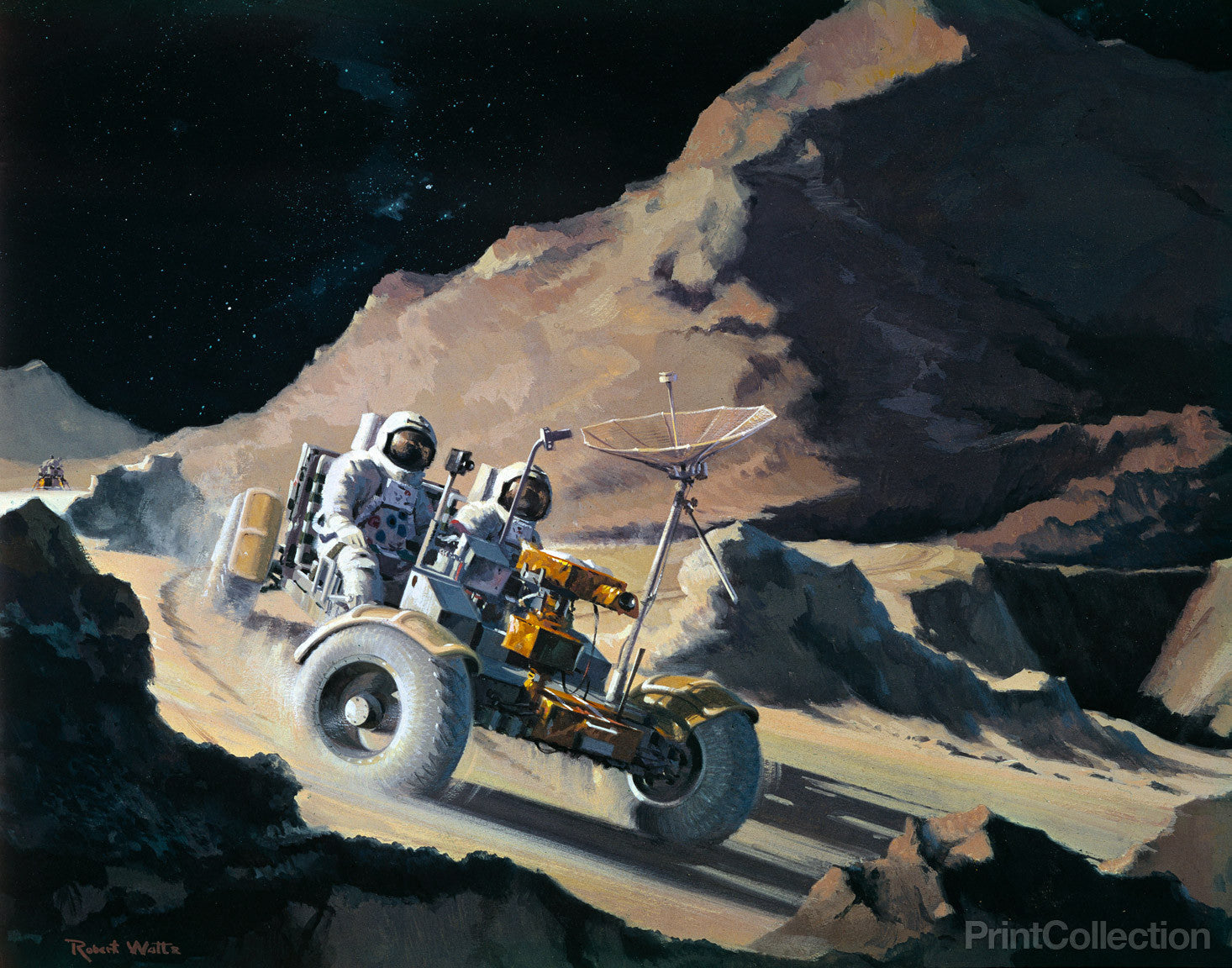 Space NASA Apollo 17 Lunar Rover Vehicle Moon Photo Large Wall Art Print 18X24