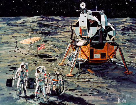Artist's Concept of Apollo 14 Crewmen on Moon