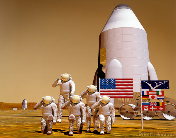 Artist's Rendering of Future Exploration of Mars and the Space Station