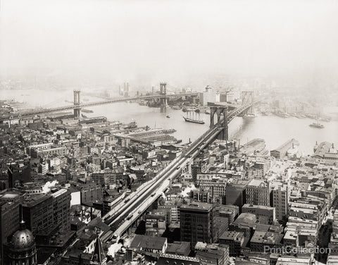 Brooklyn and Manhattan Bridges in 1916