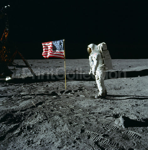 Buzz Aldrin and U.S. Flag on the Moon