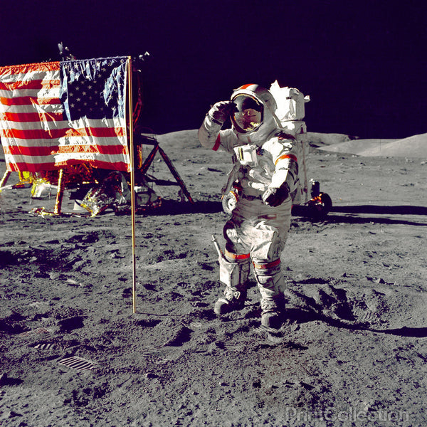 Cernan Jump Salutes Flag on Moon