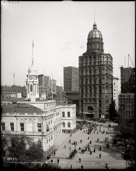 City Hall and World Building, New York.